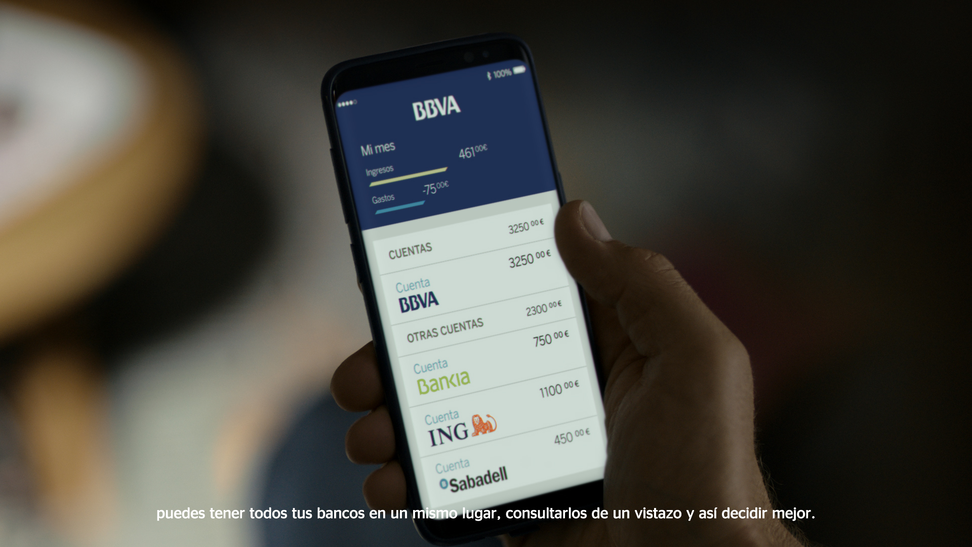 Imagen de una app de BBVA  para realizar gestiones bancarias