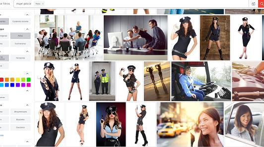 """Captura de pantalla de la búsqueda del término """"mujer policía"""" en uno de los bancos de imágenes más utilizados en España"""