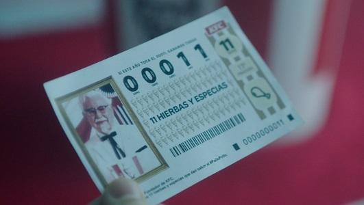 No sabemos si KFC se alegraría si el gordo de la lotería es el número 00011