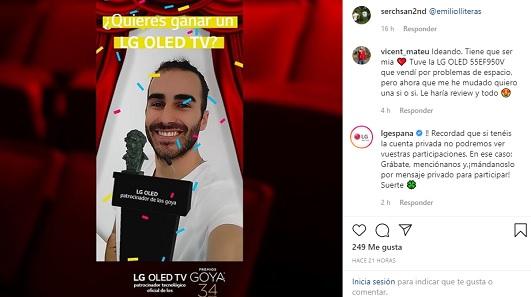 Es el quinto año que LG patrocina los premios Goya
