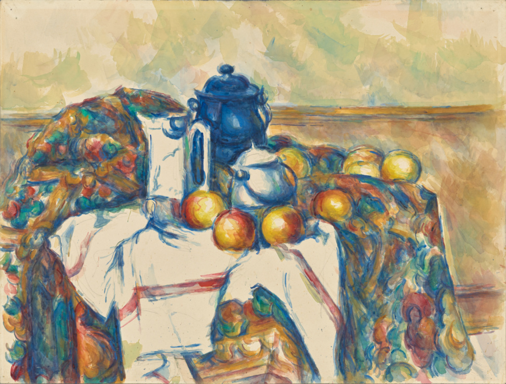 'Bodegón con bote azul' de Paul Cézanne. Imagen: Museo Getty.