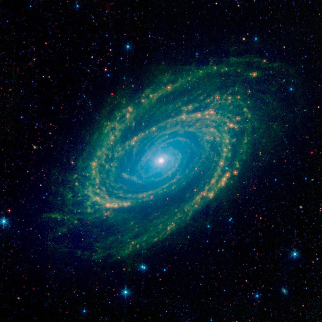 Vista infrarroja de la galaxia M81.