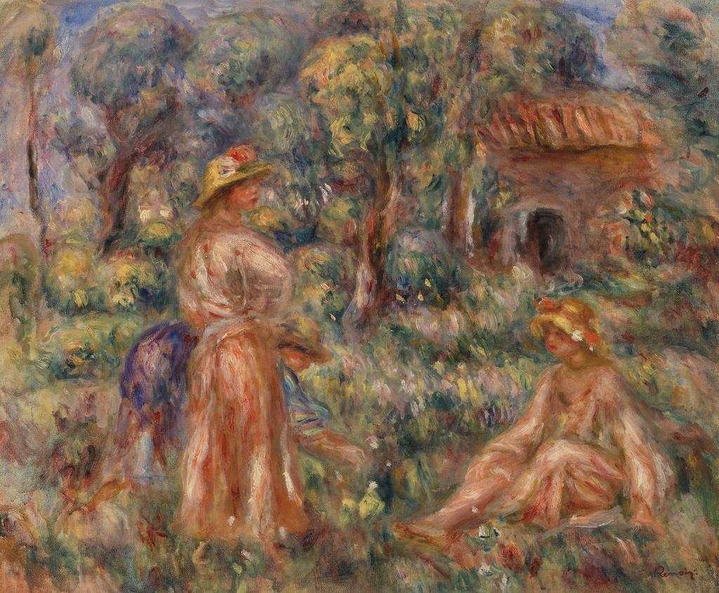 'Femme et jeune fille dans un paysage', de Renoir, es una de las obras que se exhiben estos días en la Fundación Unicaja.