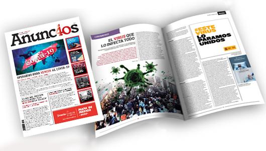 La portada y uno de los reportajes del último número de Anuncios