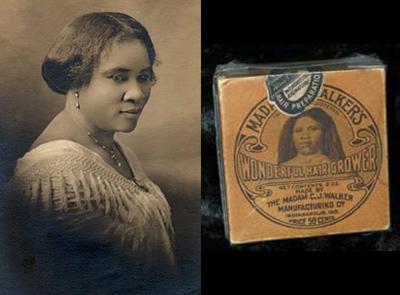 La auténtica Madam C.J. Walker y uno de sus productos. Fotos: Wikimedia Commons.