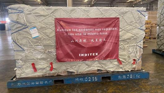 Parte del cargamento de mascarillas que Inditex ha traído a España desde China