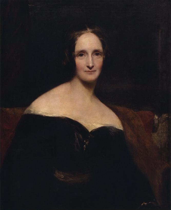 Retrato de Mary Shelley por Richard Rothwell, exhibido en la Royal Academy.