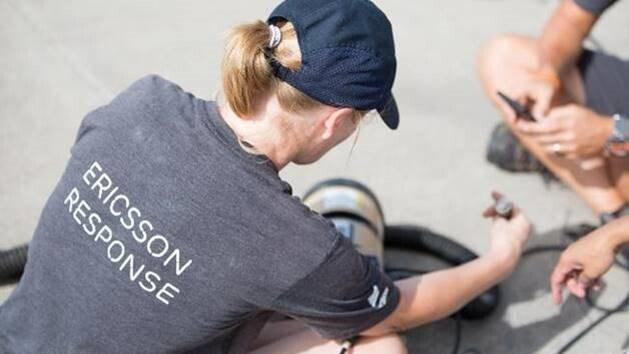 Una voluntaria de Ericsson Response