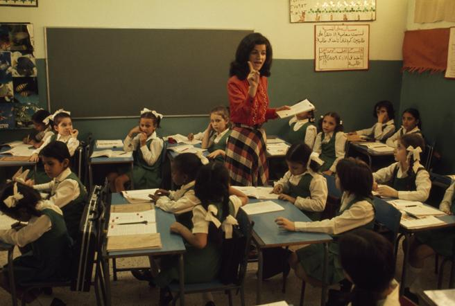 Una clase de primaria en Arabia Saudí, en 1975. Foto: Winfield Parks/National Geographic.