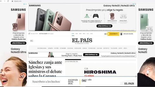 Imagen de la portada de El País con la campaña