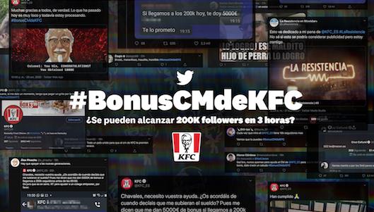 Una acción de KFC en Twitter