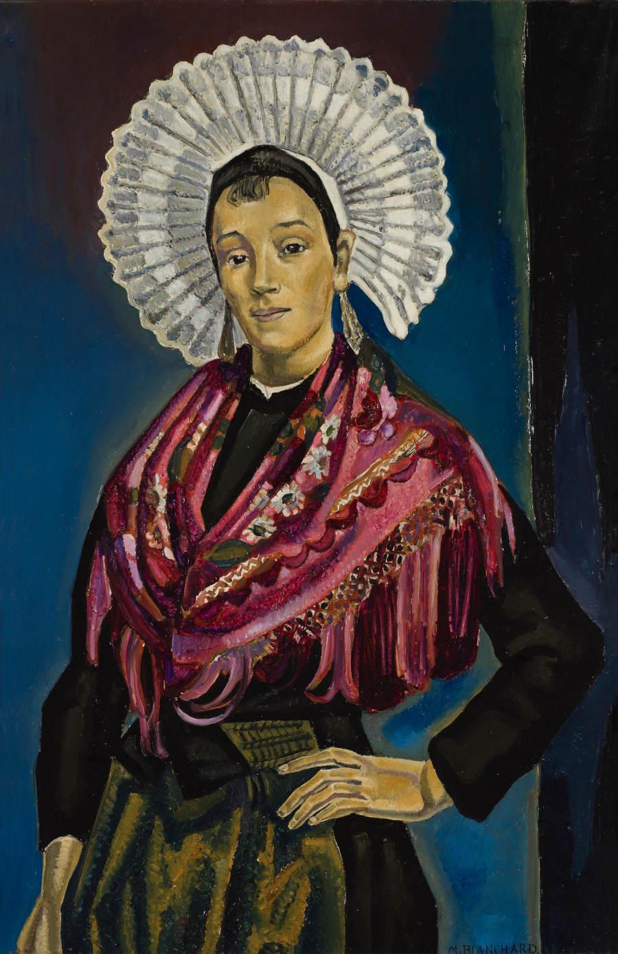 'Joven con cofia'. María Blanchard (1881-1932) Óleo sobre lienzo 1922-23 Madrid, Museo Nacional del Prado.