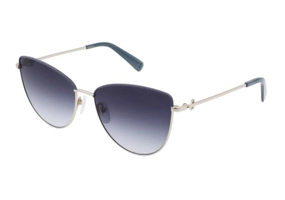 Gafas de Longchamp 'cat eye' de metal plateado.