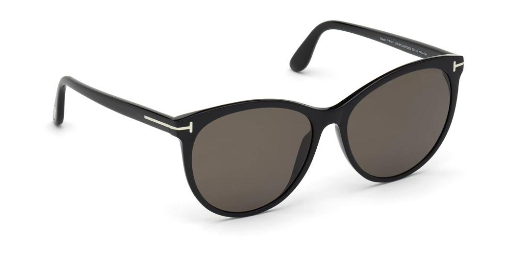 Gafas de Tom Ford redondas de acetato en negro con lentes polarizadas.