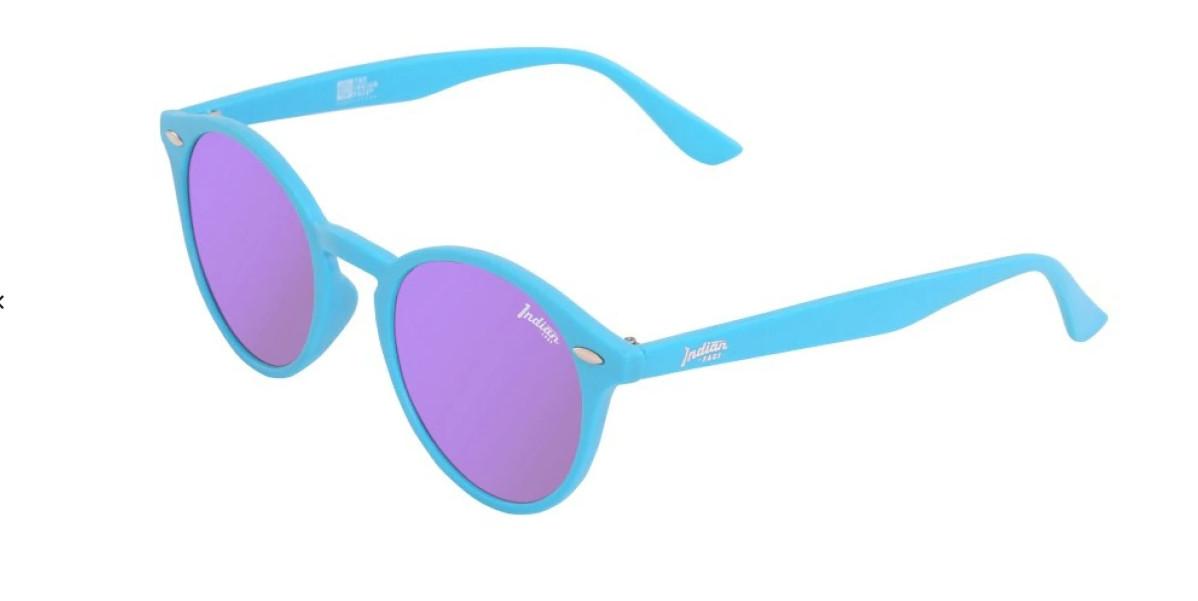 Gafas de sol unisex The Indian Face azules con lentes polarizadas.
