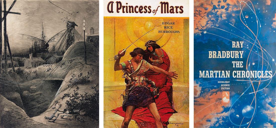 'Londres Muerto', ilustración de Henrique Alvim-Correa para la edición francesa de 'La guerra de los mundos', de H. G. Wells/Portada de 'A Princess of Mars' de Edgar Rice Burroughs/Portada de 'The Martian Chronicles', de Ray Bradbury.