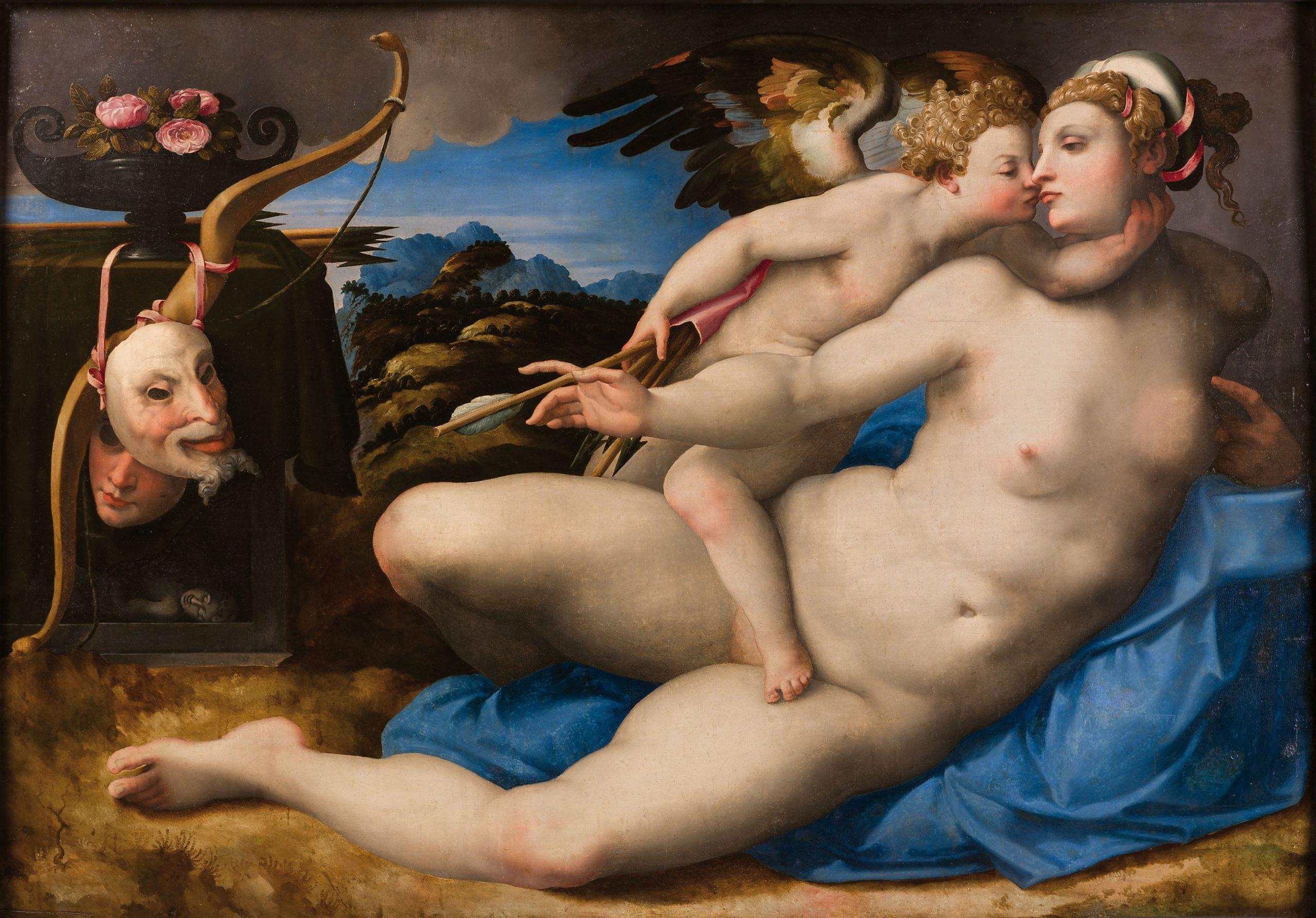 'Venus besada por Cupido'. Hendrik van der Broeck, según Miguel Ángel. Museo e Real Bosco di Capodimonte.