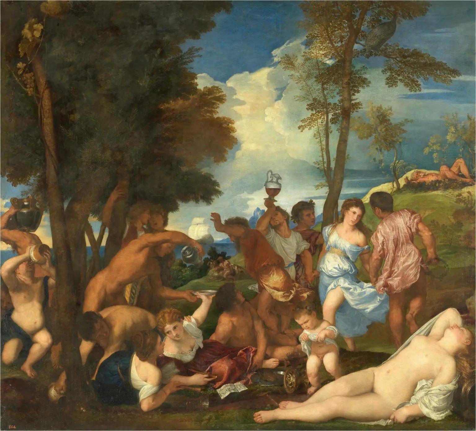 'La bacanal de los andrios'. Tiziano. Museo Nacional del Prado.