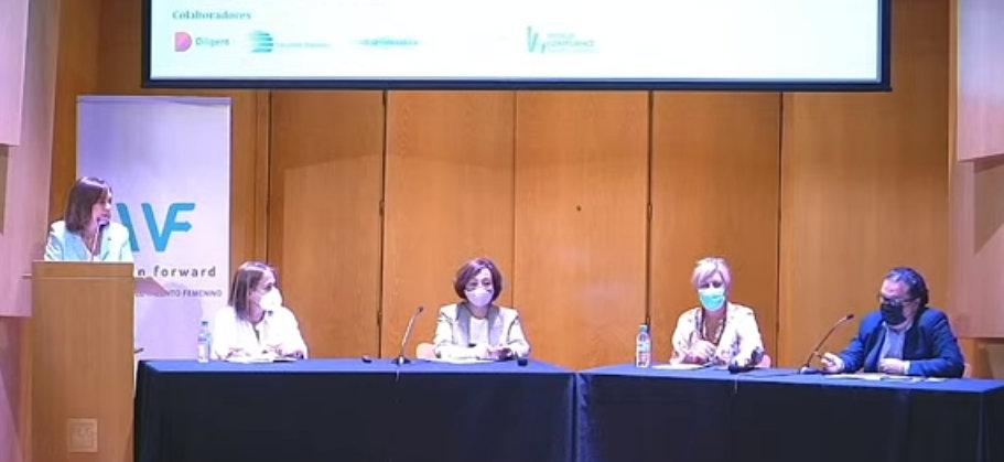De izquierda a derecha, Charo Izquierdo, Paloma Zamorano, Esther Valdivia, Marta Pastor e Ignacio Quintana.