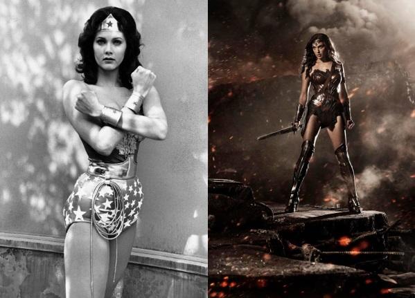 Lynda Carter en la serie de TV 'Wonder Woman' / ABC Television y Gal Gadot como Wonder Woman en la película 'Batman V Superman: El amanecer de la Justicia' / Warner - DC Comics