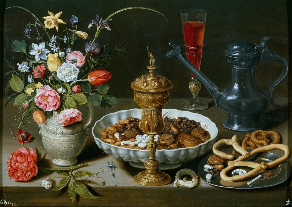'Bodegón con flores, copa de plata dorada, almendras, frutos secos, dulces, panecillos, vino y jarra de peltre', 1611