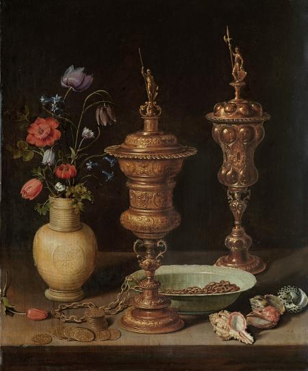 'Bodegón con flores, copas doradas, monedas y conchas', 1612