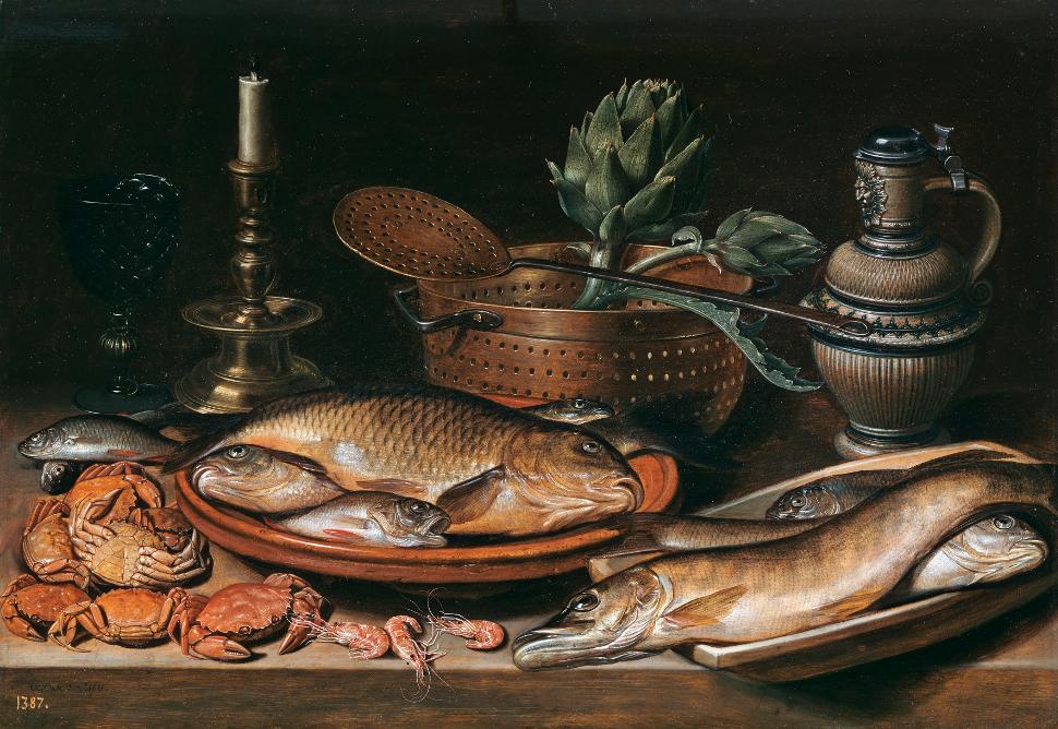 'Bodegón con pescado, vela, alcachofas, cangrejos y gambas', 1611
