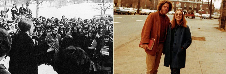 Hillary en Wellesley (Imagen de Karin Rosenthal) y junto a Bill en Yale/Fotos: Hillary for President