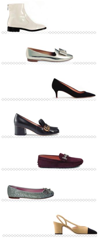 De arriba abajo, zapatos de las marcas: Courrèges, Ferragamo, J. Crew, Gucci, Tod's, Pretty Ballerinas y Chanel