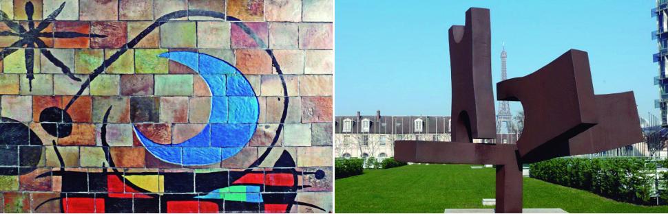 Obras de Joan Miró (izquierda) y Eduardo Chillida (derecha) que adornan la sede de la Unesco en París. Foto: Mercedes Goiz