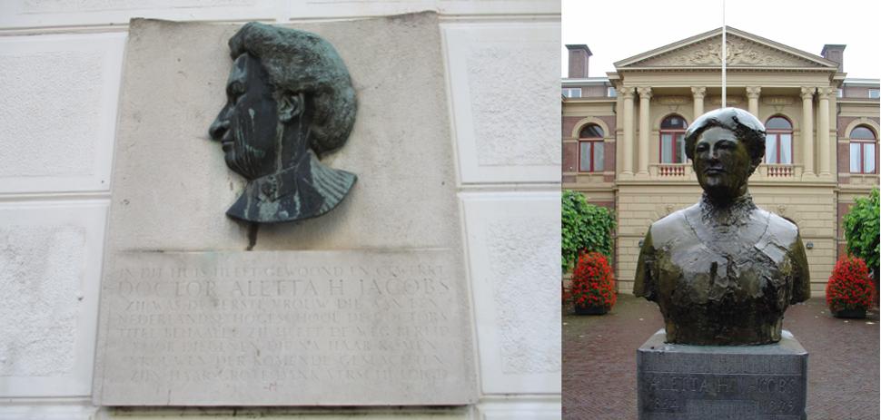 Placa conmemorativa en Ámsterdam y busto en su alma máter, la Universidad de Groningen. Imágenes: Wikimedia Commons
