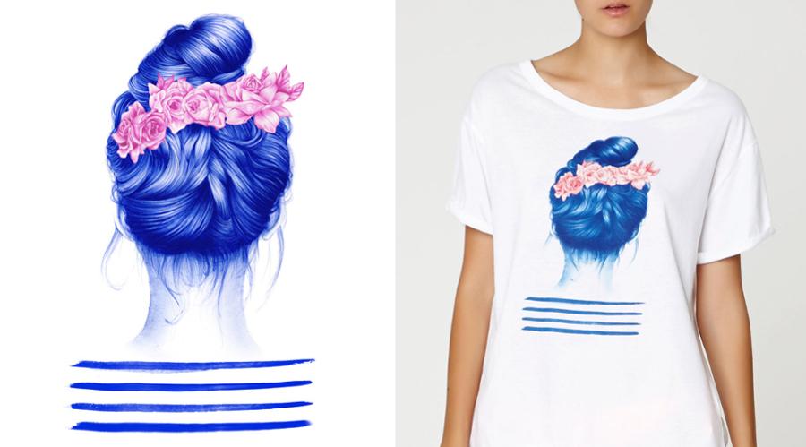 Diseño para camiseta de Oysho. Imagen: nuriariaza.com