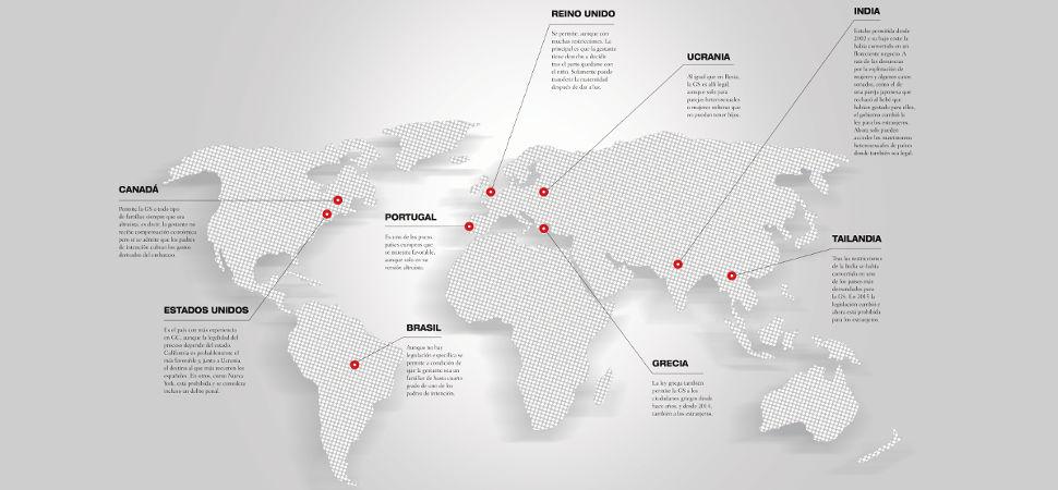 El mapa de la gestación subrogada