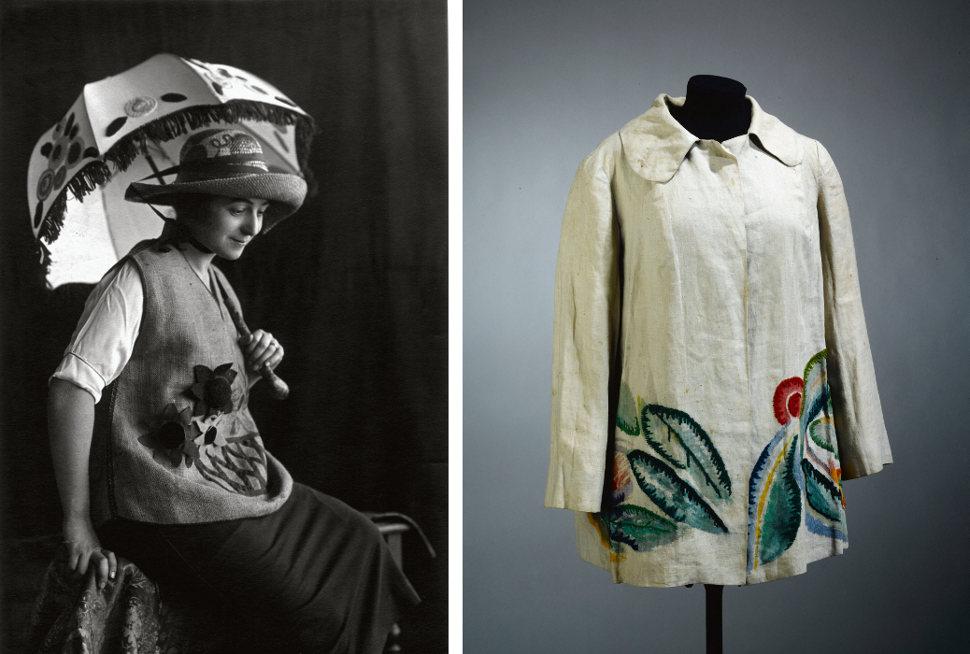 La propia artista vistiendo creaciones de 'Casa Sonia' en 1920 y chaqueta de lino bordada (1928)