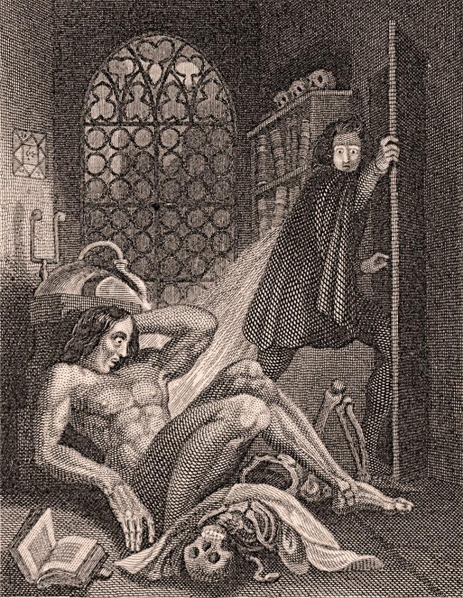 Ilustración del doctor Frankenstein junto a su creación (Edición de 1831). Imagen: Theodore Von Holst / Tate Britain