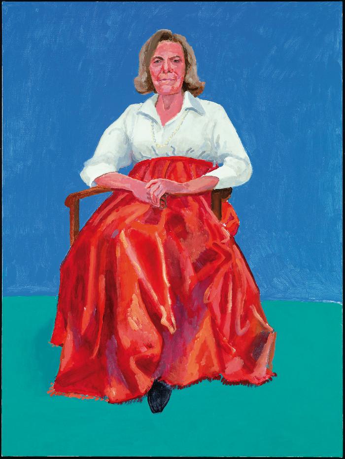 La diseñadora, filántropa y mienmbro de la comisión de arte del Smithsonian Rita Pynoos, retratada en 2014 por Hockney. Foto: Richard Schmidt