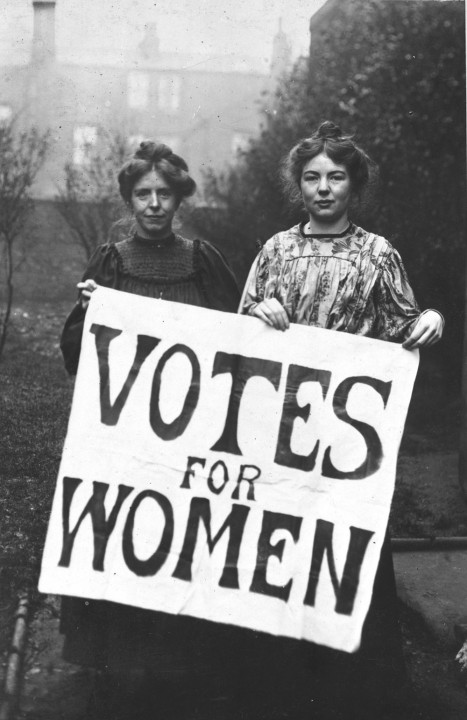 Las sufragistas Annie Kenney y Christabel Pankhurst. Foto: National Archives UK
