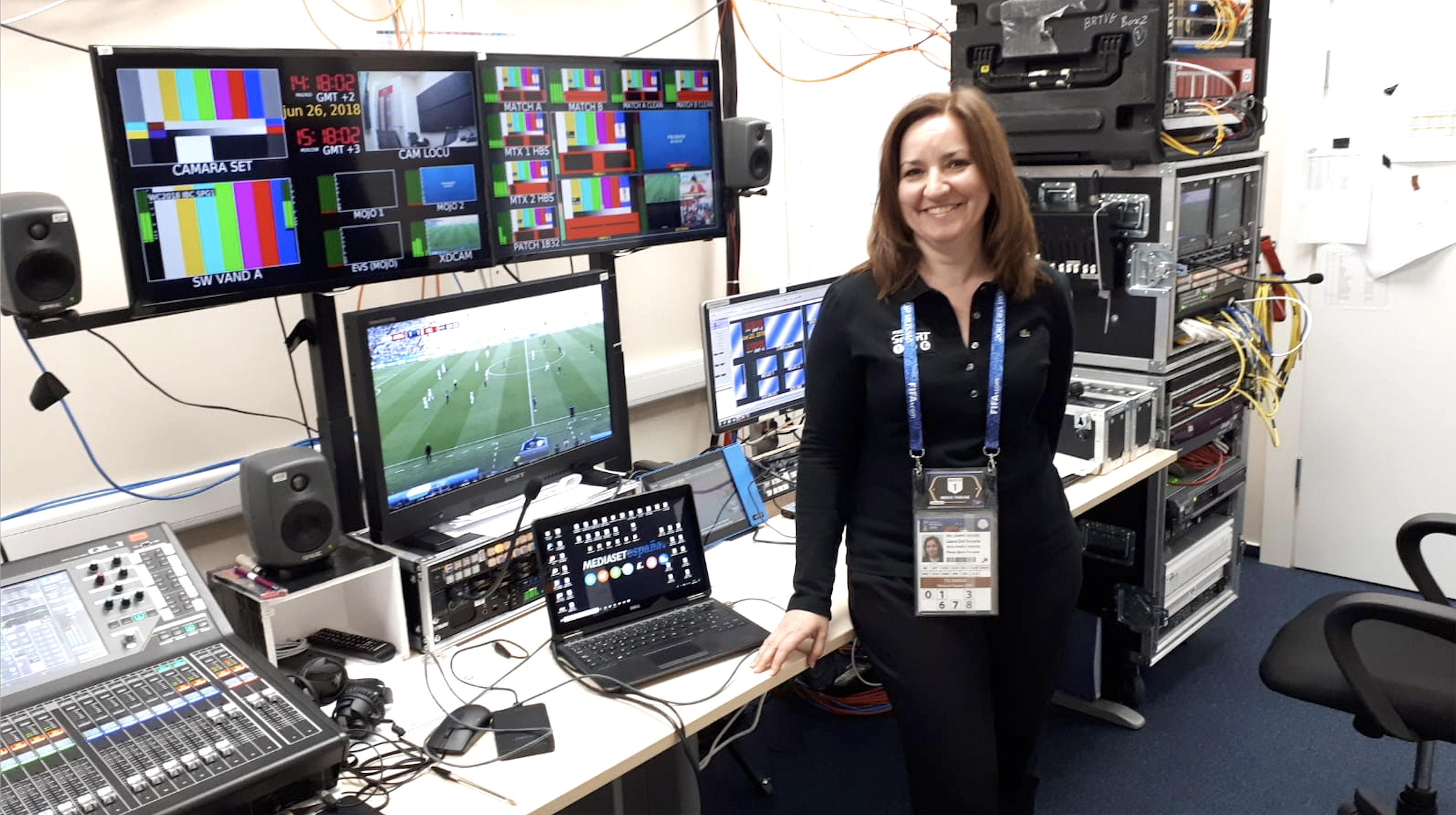 Laura del Campo, responsable técnica, en el IBC de Moscú